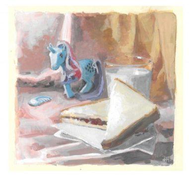 Sparkler with PBJ Sandwich & Milk